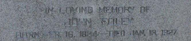 FOLEY John grave stone Mount Hope Cemetery Sec 20 Lot 360