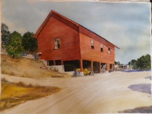 NUSBICKEL Frederick Henry - Orange Grove Barn San Dimas California - watercolour by James Ricard Dick Wire