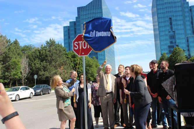 Descendants of Ann O'Reilly unveil the new Ann O'Reilly Road street sign, June 19, 2015