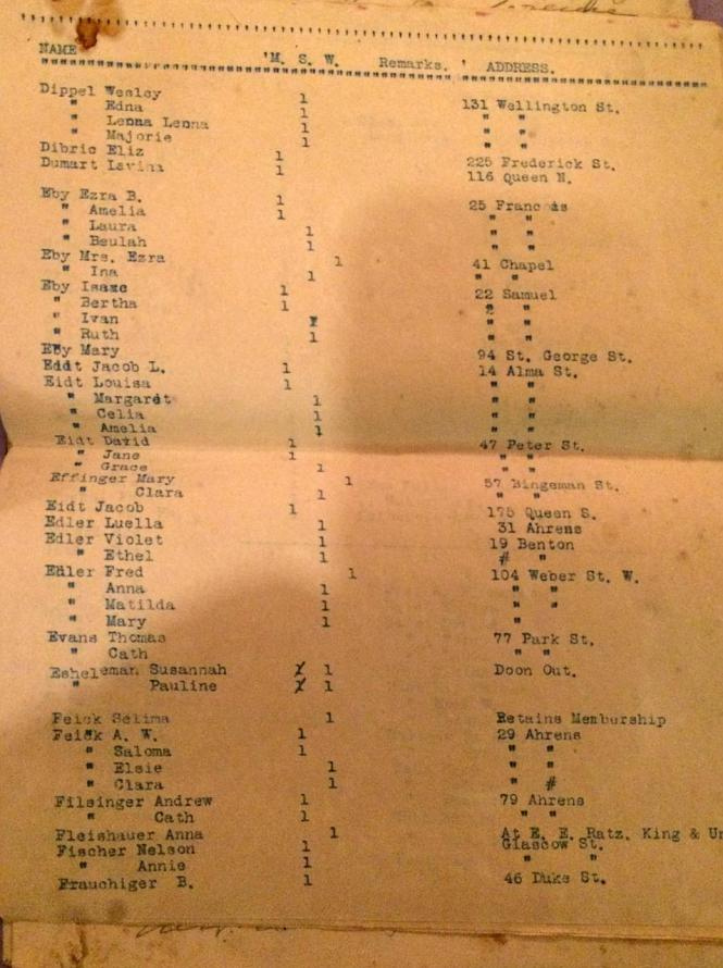 BERLIN Ont ZION EVANG Church members list 1915 p4