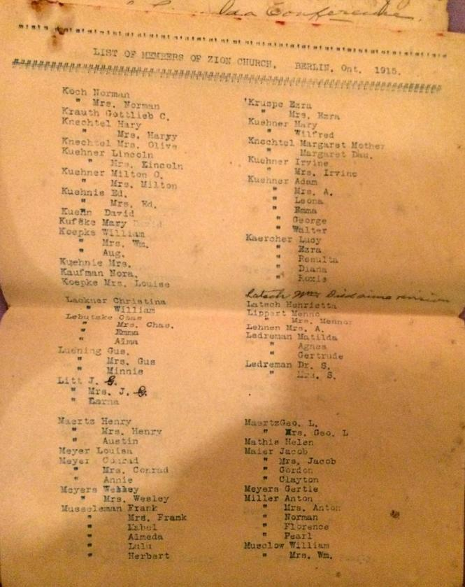 BERLIN Ont ZION EVANG Church members list 1915 p6