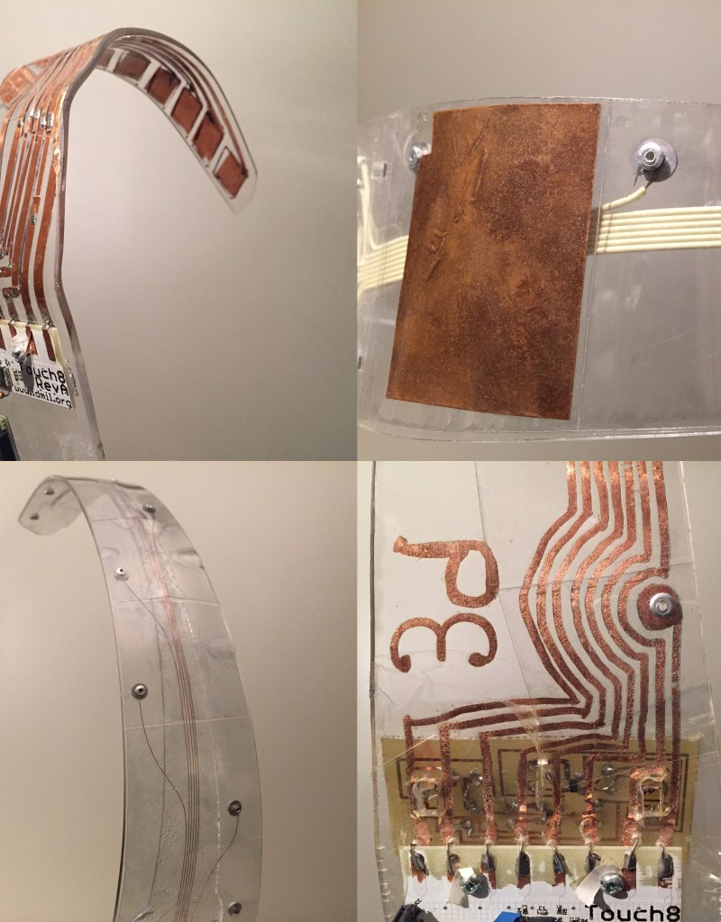 Most of the technologies used in the Prosthetic Instruments were developed at the Input Devices and Music Interaction Lab. The capacitive sensing in particular went through a dramatic transformation, moving from copper panels to transparent plastic touch sensors connected with thin copper wires. Pictured here is the evolution of the Ribs, moving clockwise from the initial copper pads on top left to the final version on the bottom left.