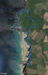 Map of circular walk around Bedruthan Steps
