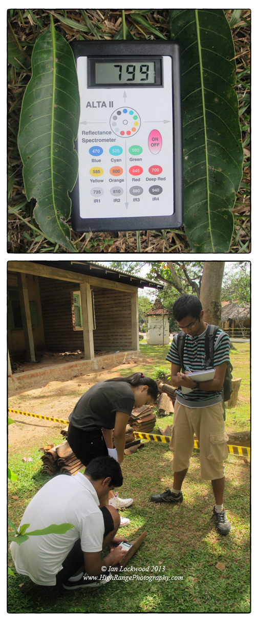 OSC students collecting reflectance data on a traditional tile at the craft village