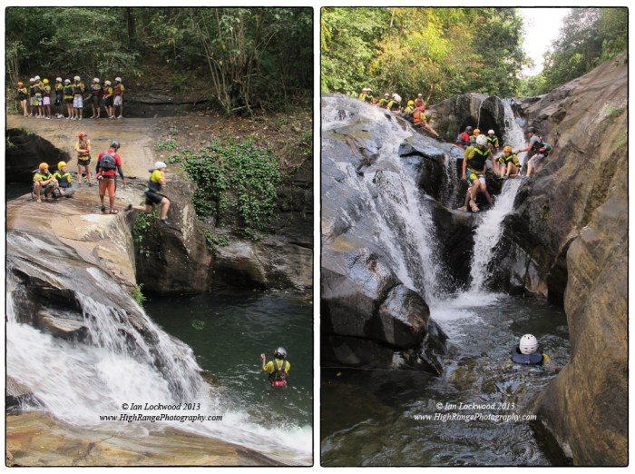 """Making our way through """"the Canyon""""...falling the stream over a series of falls, pools and gorges."""