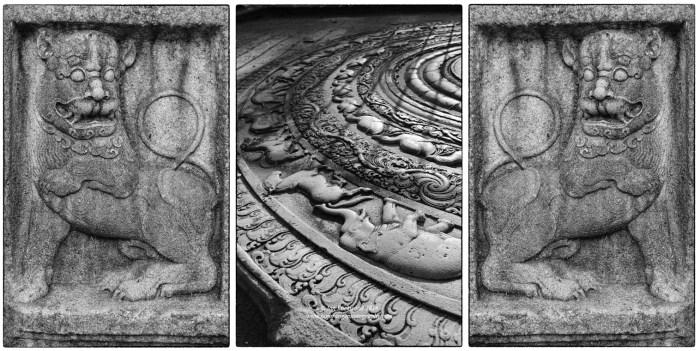 Abhayagiri moonstone details and neighboring lion guard stone.