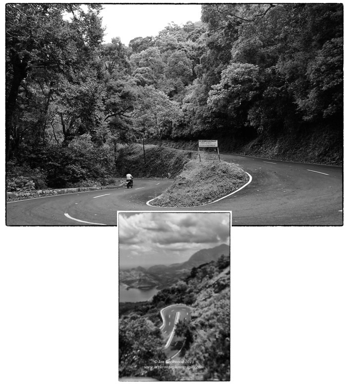 Two of the 40+ hair in bend on the Ghat road up to the tea planting town of Valparai from the Palghat Gap.