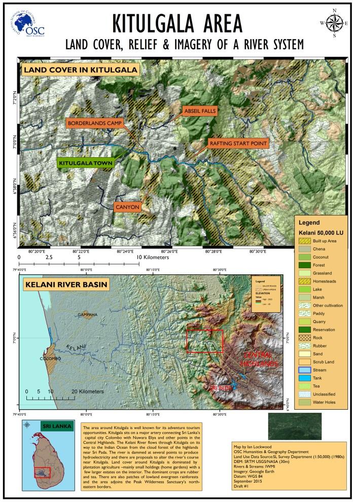 GIS generated Map of Kitulgala and Kelani River Basin.