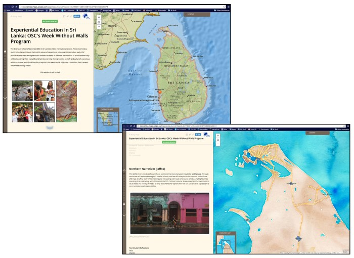 Screen shots of a Storymap utilizing base layers from National Geographic with layers of spatial data from Sri Lankan sources. The bottom map utilizes the Stamen Water color tint and is also layered with a n urban areas layer sourced from IWMI.