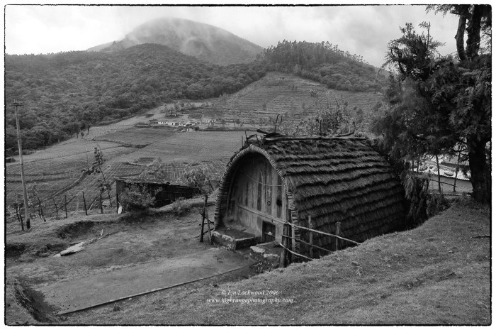 Toda home near Avalanche in the south-western Nilgiri Hills. Note the large shola in the background. The grasslands here have been converted into vegetable plots.