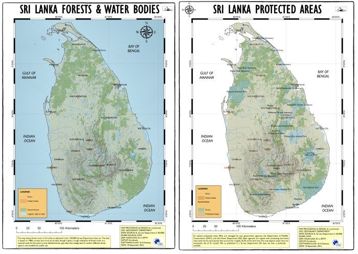 GIS-generated maps depicting forest cover, rivers, water bodies and protected areas in Sri Lanka. I utilized a variety of publically available data in their creation (acknowledged in bottom right annotations). This is Draft #1 and I'll make updates in the future.