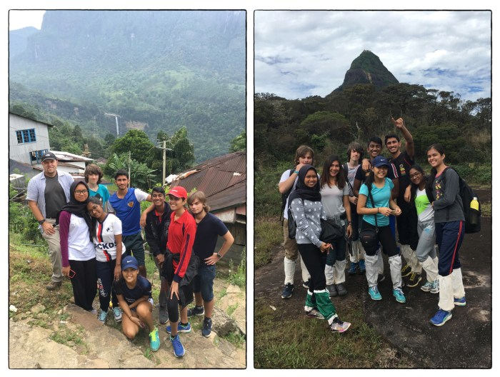 Class of 2018 ES&S class at Laxapana Falls (left) and on the trail to Sri Pada (right).