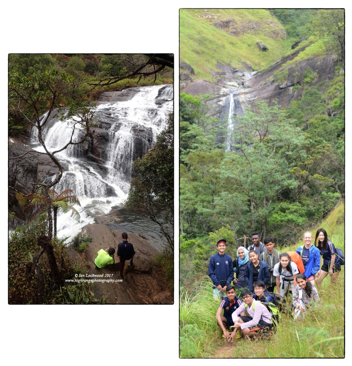 2017 WWW group at (Left) Baker's falls in Horton Plains and (right) on the 2nd day on the way to Lanka Ella falls.