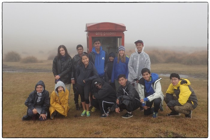 2017 Sri Lanka Highlands WWW group photographed at the strange telephone booth in Horton Plains National Park. Note the dry grass-a result of a severe drought and failed North East Monsoon in the months prior to our arrival.