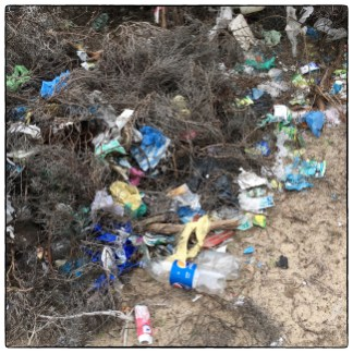 Plastic waste on the road to Talaimannar.