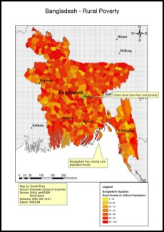 DP 1 Geography poverty study map of Bangladesh by Sarah using World Bank data (OSC Class of 2019)