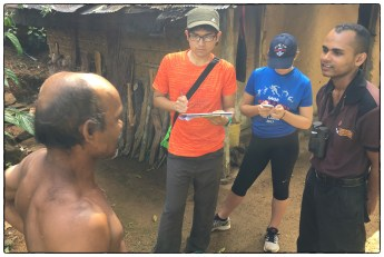Yuki and Zoe collecting data from an areca and tea farmer who lives alone in a traditional adobe dwelling.