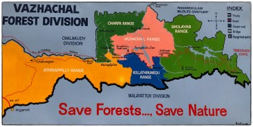 Forest Department map of the Vazhachal area, showing different divisions, main water bodies and hydroelectric infrastructure. Map credited to Madhu art.