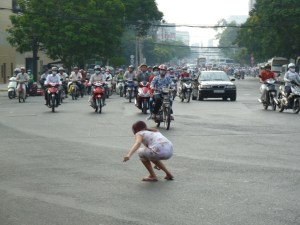 Bad place to drop something - a major junction in Saigon