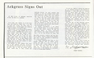 Hackgrass Signs Out Feb 1985