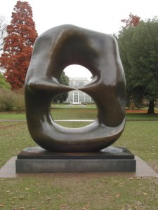 "Henry Moore at Kew - ""Oval with points"" and Palm House"