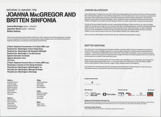 Joanna MacGregor and Britten Sinfonia, Reverb: Roundhouse