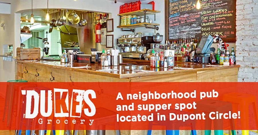 A photo of Duke's Grocery banner which contains an image of the kitchen table.   The result of a couple guys who love good food and cold drinks, Duke's Grocery is a neighborhood pub and supper spot located in the Dupont Circle neighborhood of Washington, D.C. The idea is simple: create a fun spot that our friends (you!) can come in anytime and have a fulfilling meal, a tasty drink and great time in an atmosphere that is unpretentious and laid back. Tuck in, drink up and enjoy!  A nod to the ubiquitous corner cafés, bodegas and curry joints of the East London neighborhoods of Shoreditch and Hoxton, our culinary inspiration is as diverse as these brilliantly working class parts of the English capital. East London's funky juxtaposition of classic greasy spoons, hole-in-the-wall ethnic spots and ultra sleek avant-garde restaurants has created a food scene that is truly unique.