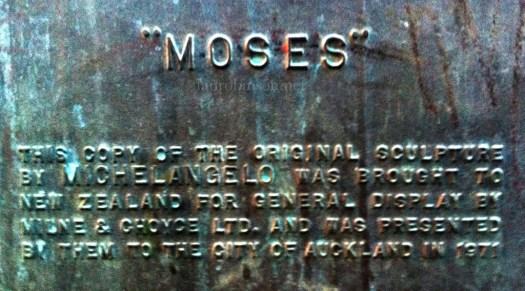 Myers Park Auckland Moses Plaque
