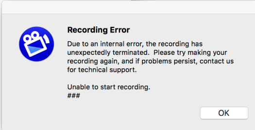 Screenflow Recording Error Unable to Start Recording