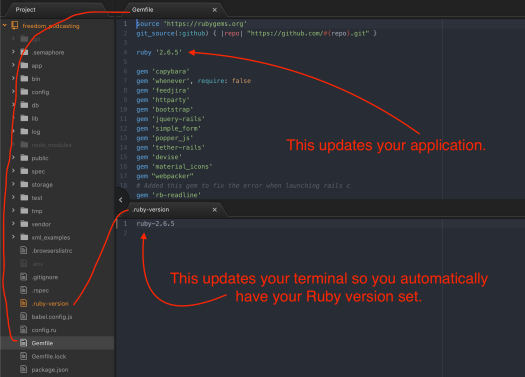how to automatically set what ruby version your rails app uses