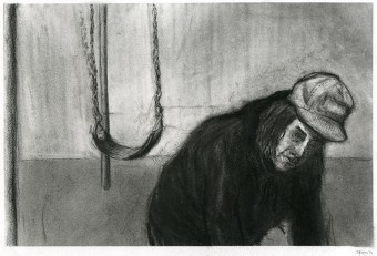 """""""Searching/Digging"""" charcoal. 2014. 8.75"""" x 13.5"""""""