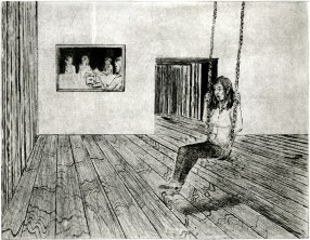 """""""Seasons and Struggles: Creating Conversations"""" drypoint. 2014. 14"""" x 17 7/8"""""""