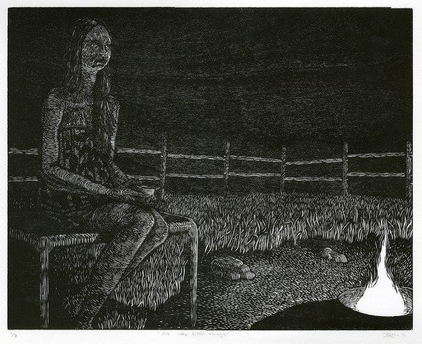 """""""All the Little Things"""" Woodcut. 2014."""