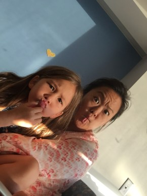 Auntie Lynn gave us a selfie stick! We need practice.