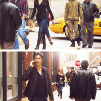 "In the upcoming episode ""Because the Night,"" Damon takes Elena on an adventure to New York City in an effort to get her mind off of recent events. Judging from our exclusive first look from the episode, it appears that Elena has gotten a new look on her trip by adding some red streaks and stylish new waves to her tresses."