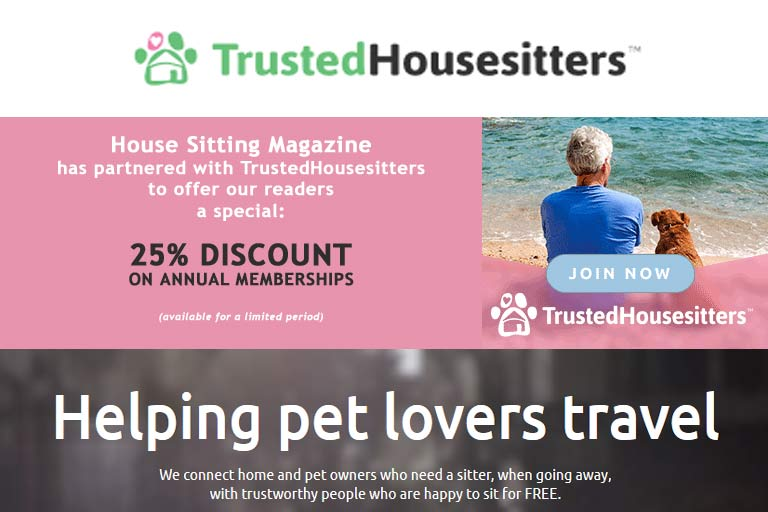 25% off at Trusted Housesitters