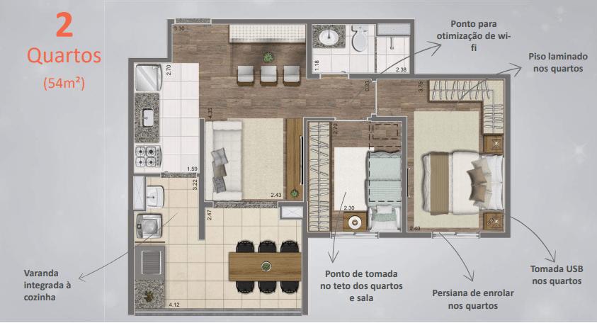 Planta de 54m² com 2 Dormitórios - Detalhes