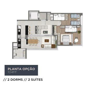 Planta Living 104m2 - 2 Dorms