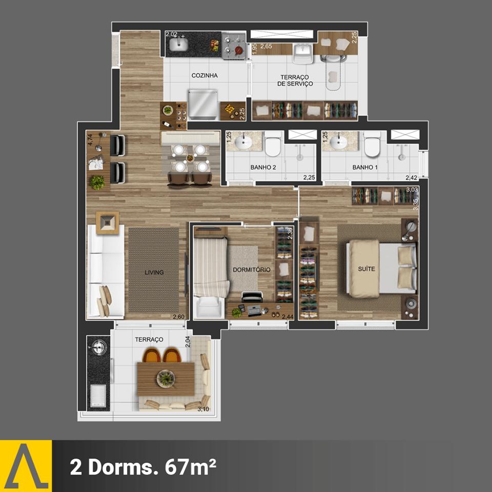 Walk SP - Planta 2 Dormitórios de 67m²
