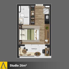 Walk SP - Planta Studio de 26m²