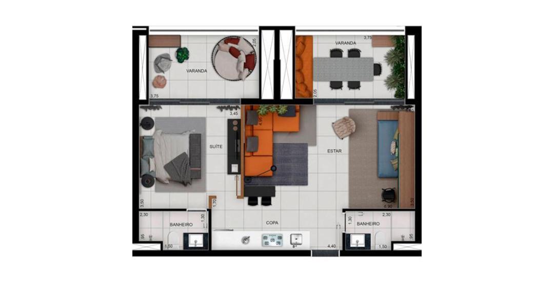Platina 220 - Planta Residencial 70m²