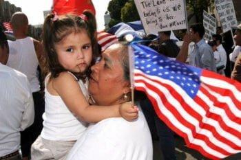 little girl immigration flag