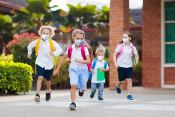 kids wearing masks at school