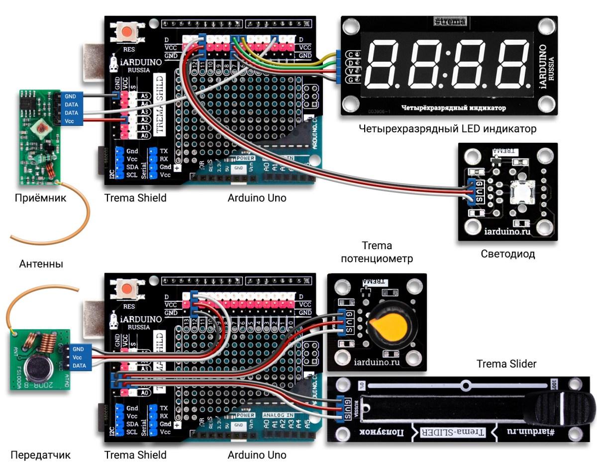 Схема соединения двух Arduino по радиоканалу