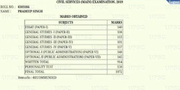 The mark sheet states the score in all subjects of the exam. The total score is 1072 in this sheet.