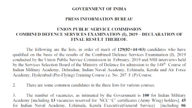 Photo of UPSC CDS I Exam 2019 Final Result Declared check now