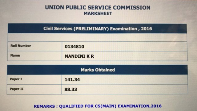 NANDINI KR PRELIMS MARK LIST