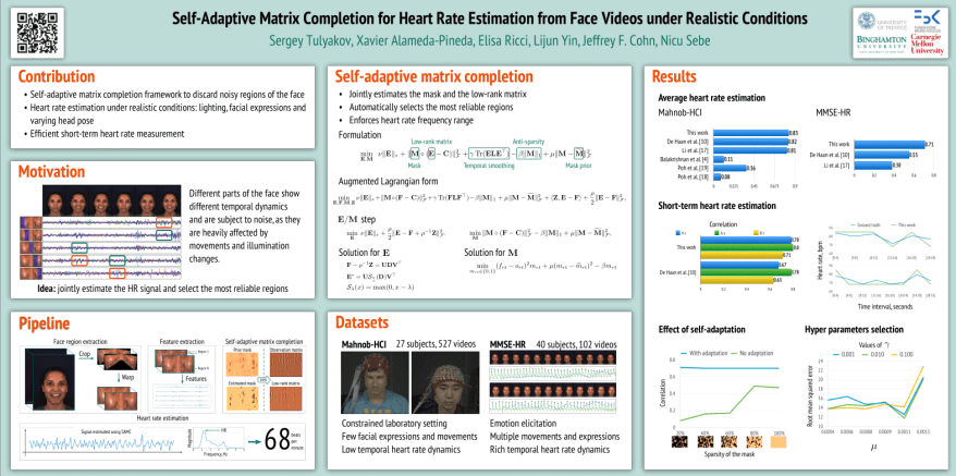Self-Adaptive Matrix Completion for Heart Rate Estimation from Face Videos under Realistic Conditions