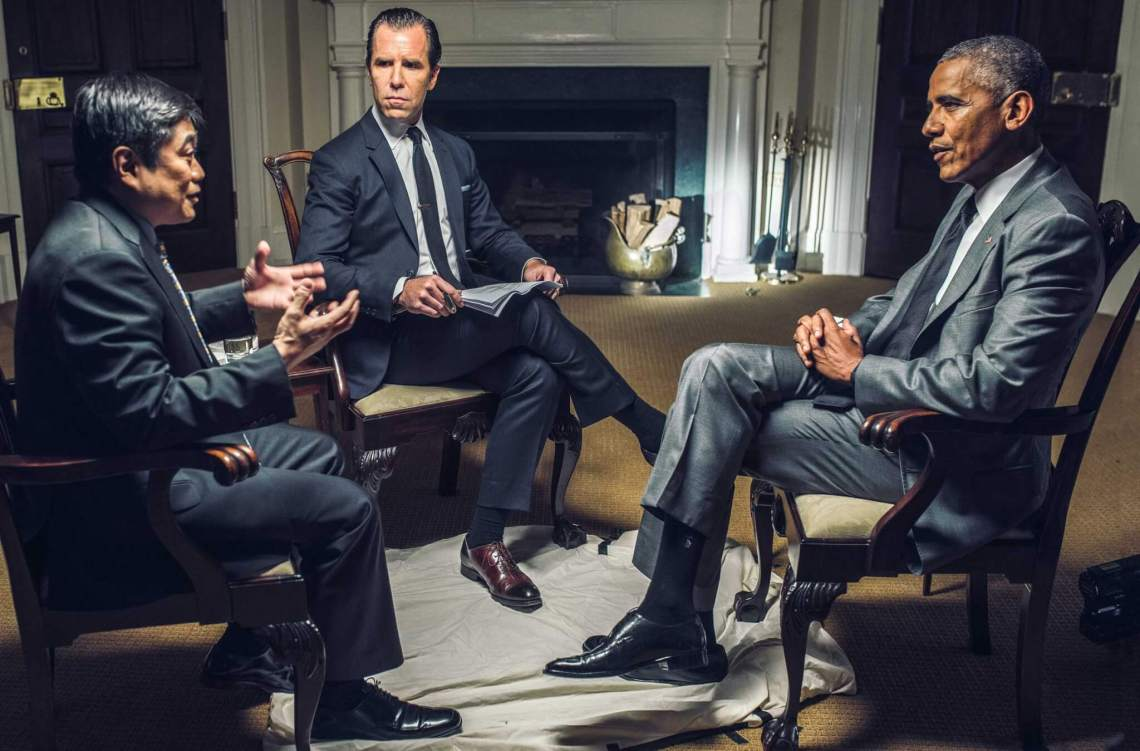 (L to R) Ito, Dadich, and Obama. Credits: Christopher Anderson/Magnum Photos for WIRED