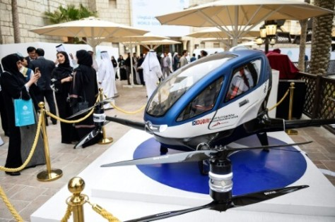 A model of the EHang 184 at the World Government Summit 2017 in Dubai's Madinat Jumeirah on February 13, 2017